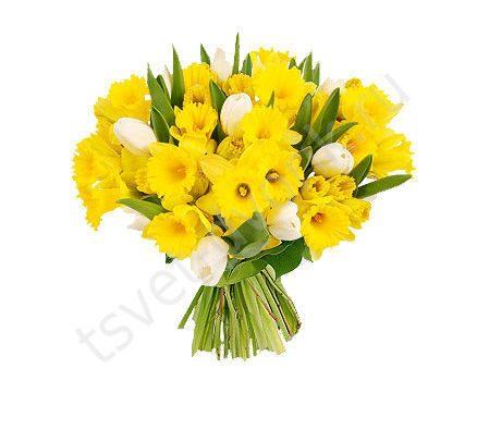 Композиция букет из тюльпанов и нарциссов, цветы невеста и жених